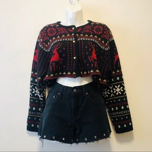 Vintage Crop Cardigan Button Up Sweater